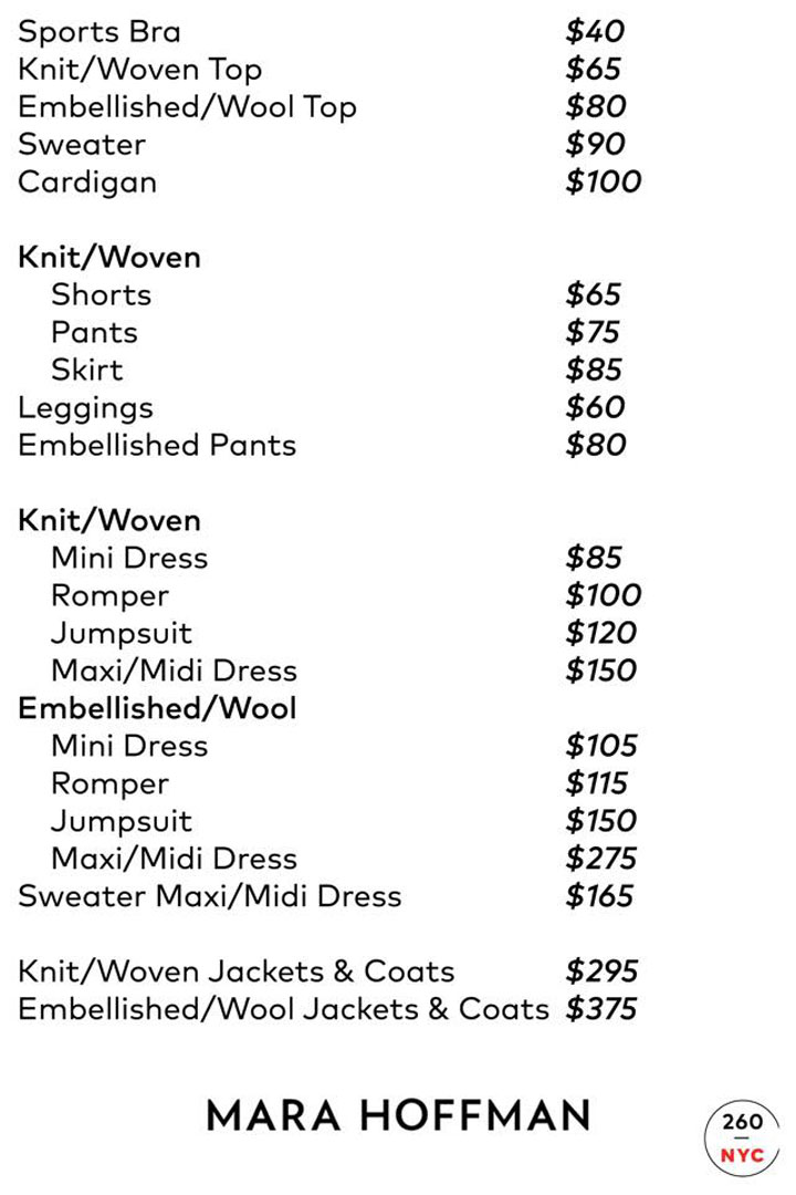 Mara Hoffman Sample Sale Accessories Price List