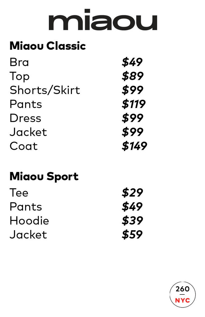 Miaou Sample Sale Price List