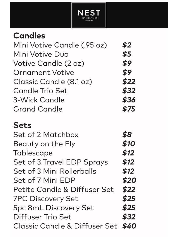 Nest Fragrances Sample Sale Price List