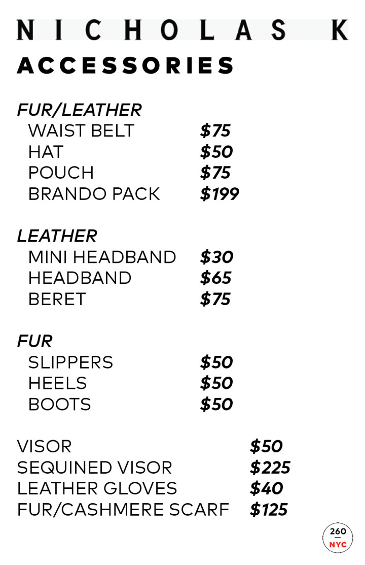 Nicholas K Sample Sale Accessories Price List