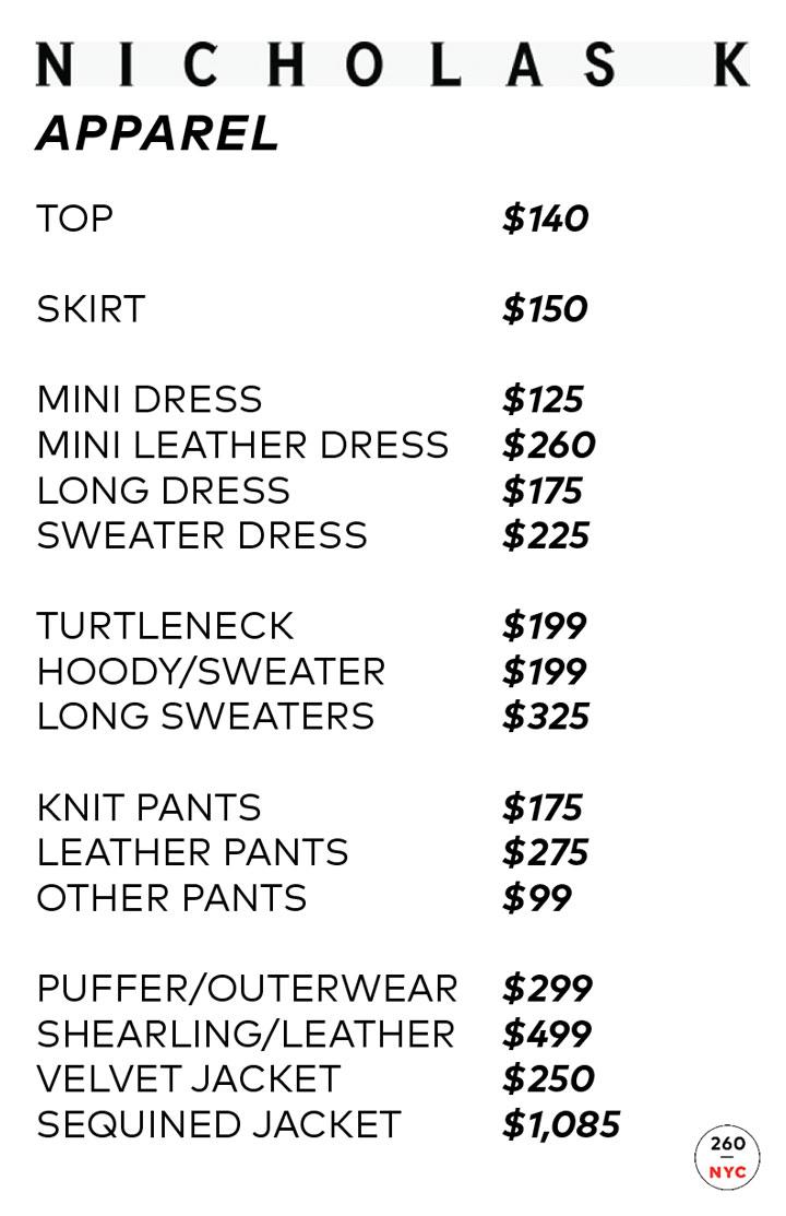 Nicholas K Sample Sale Apparel Price List