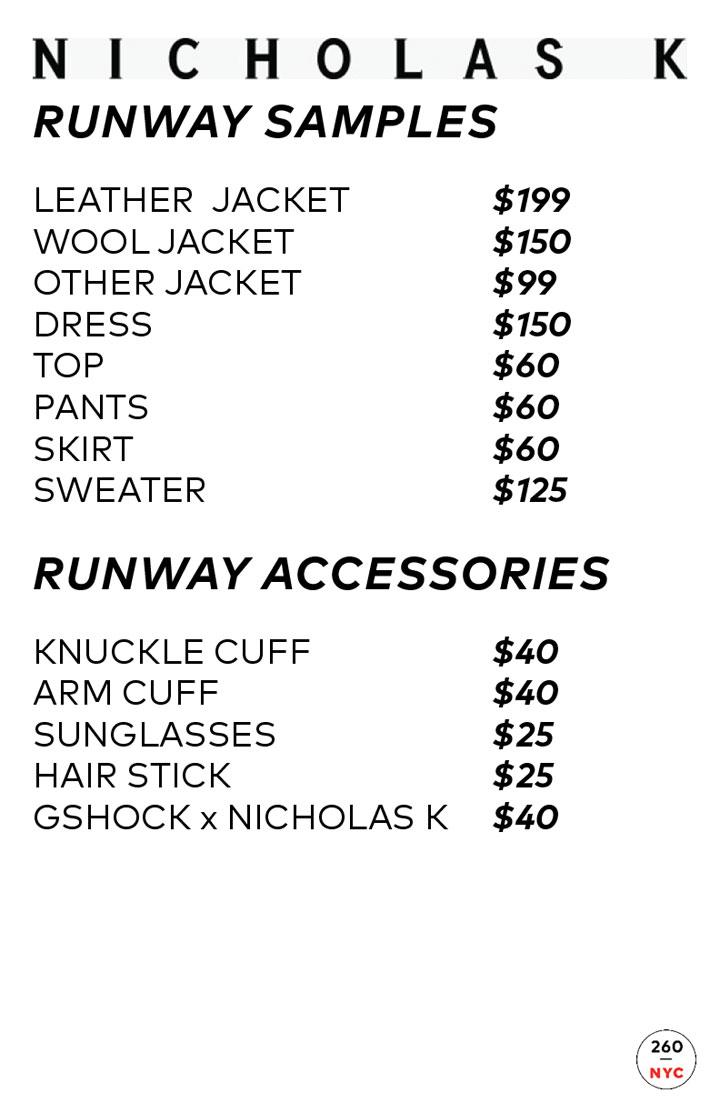 Nicholas K Sample Sale Runway Price List