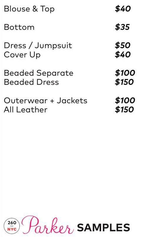 Parker Sample Sale Samples Price List