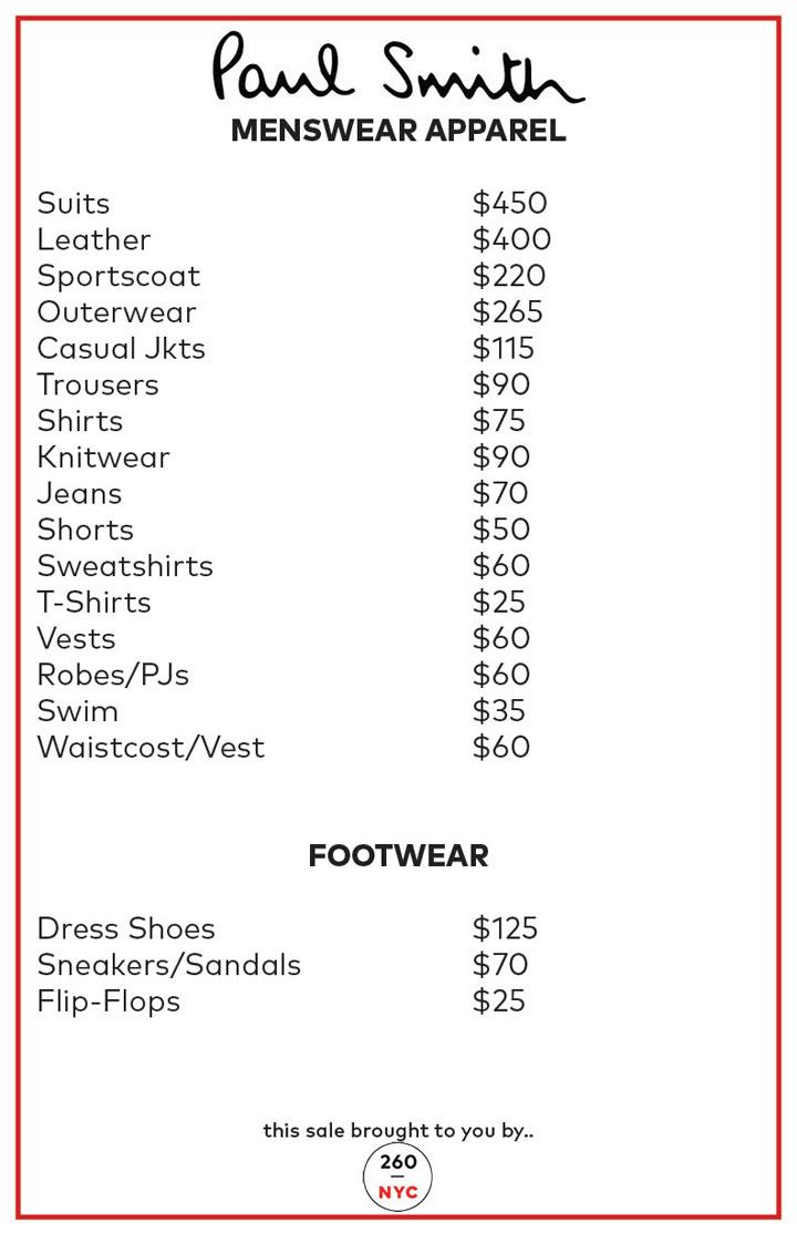 Paul Smith Sample Sale Menswear Price List