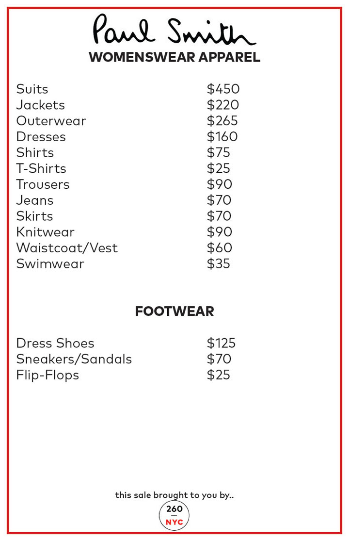 Paul Smith Sample Sale Womenswear Price List