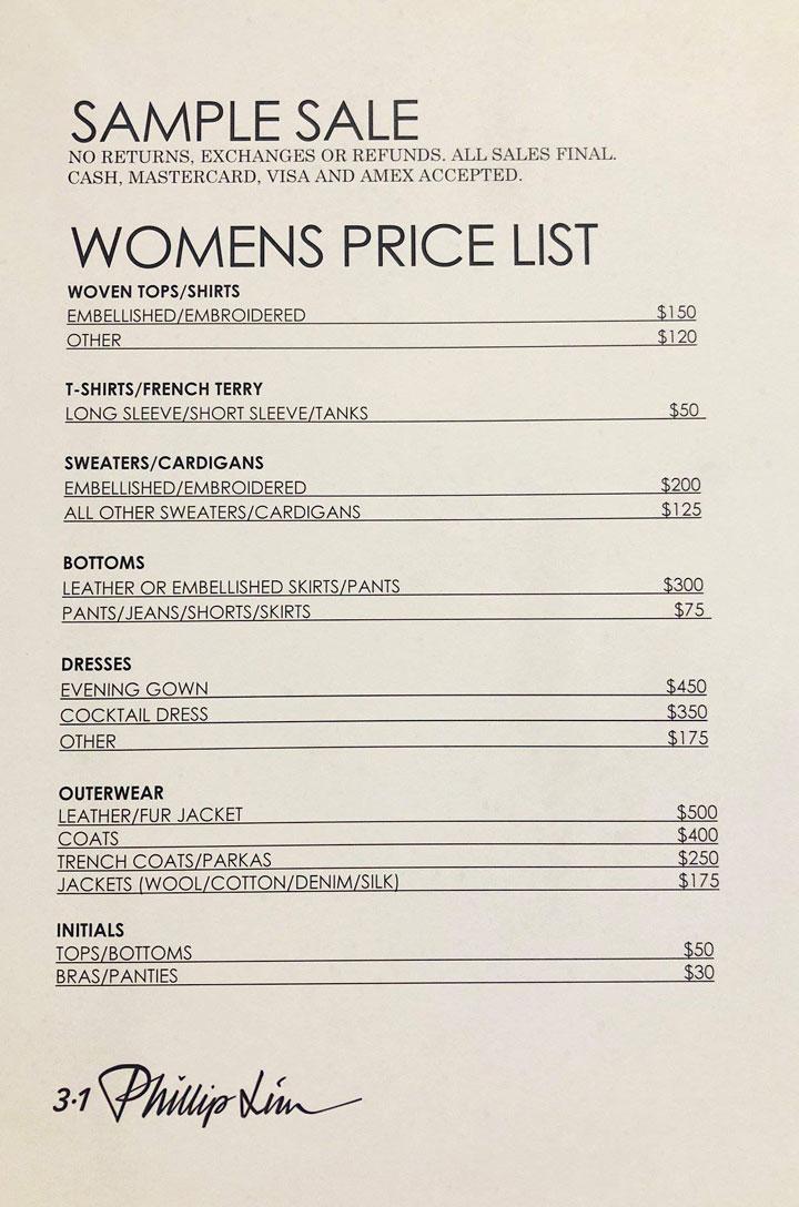 3.1 Phillip Lim Sample Sale Apparel Price List