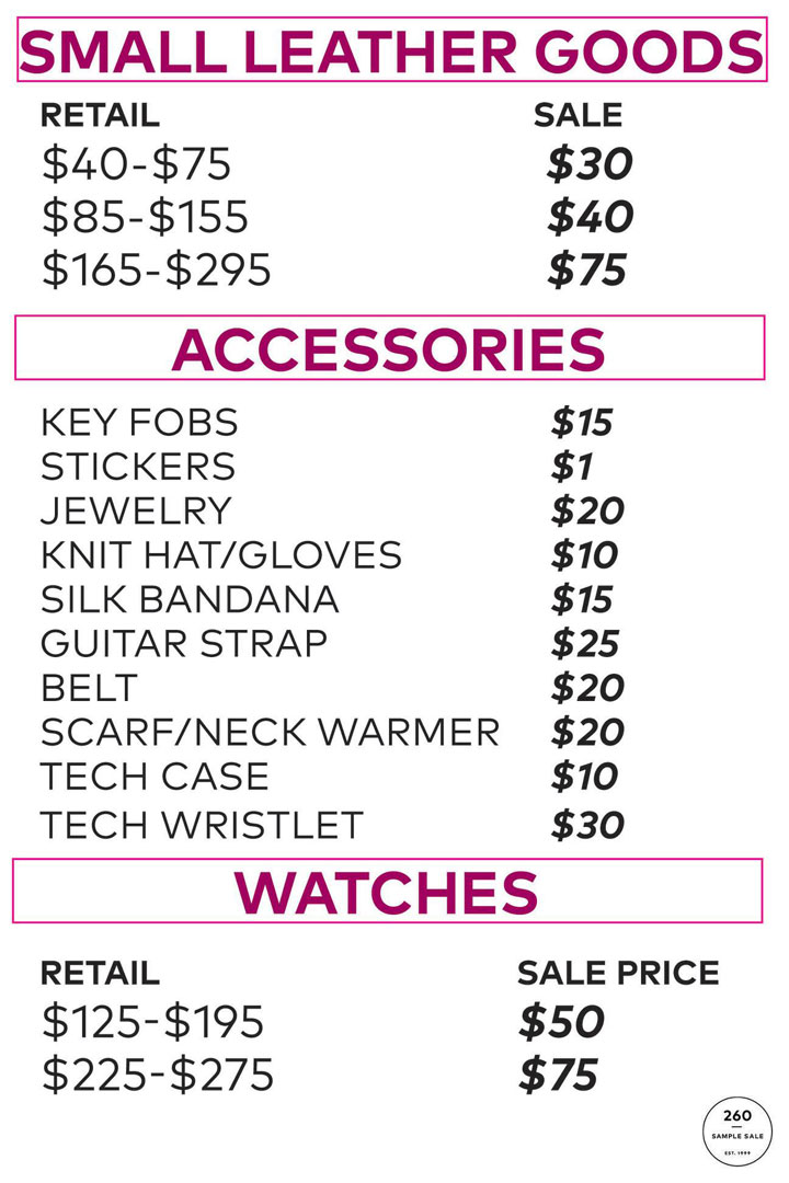 Rebecca Minkoff Sample Sale Accessories Price List