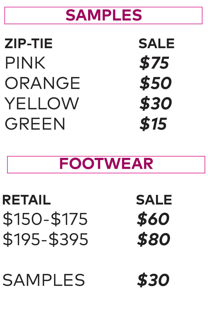 Rebecca Minkoff Sample Sale Footwear Price List