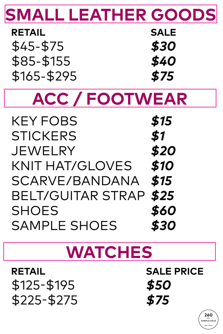 Rebecca Minkoff Sample Sale Accessories Price List