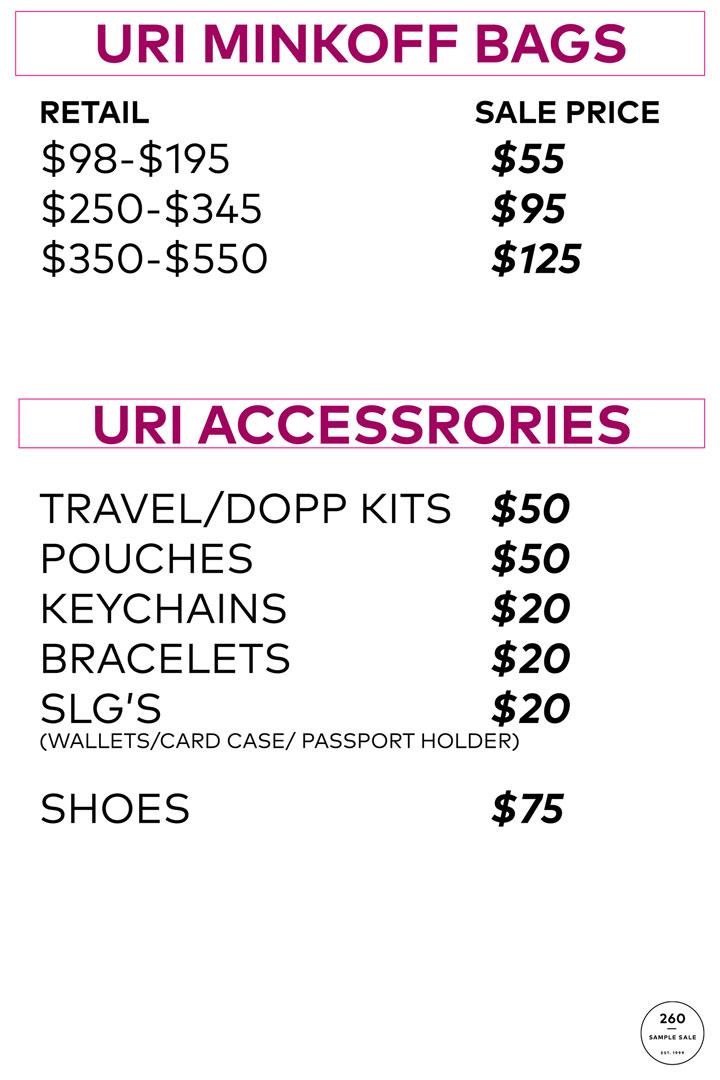 Rebecca Minkoff Sample Sale Uri Minkoff Bags Price List