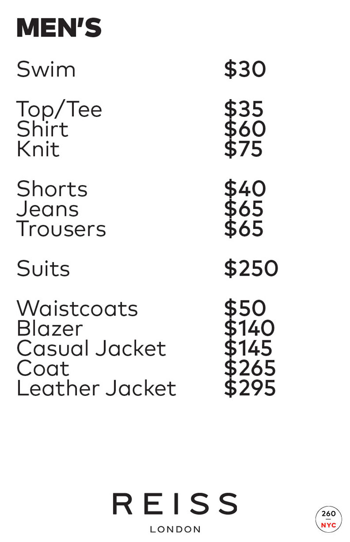 Reiss London Sample Sale Menswear Price List