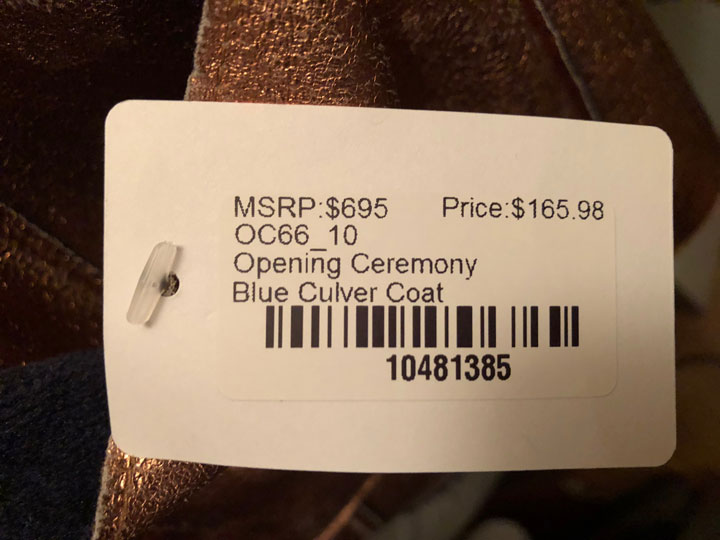Rent the Runway Sample Sale Opening Ceremony Coat