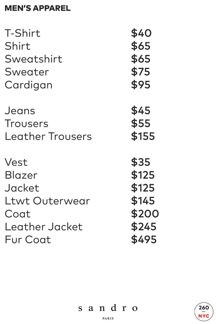 Sandro Sample Sale Price List