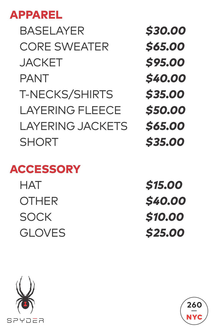 Spyder Sample Sale Price List