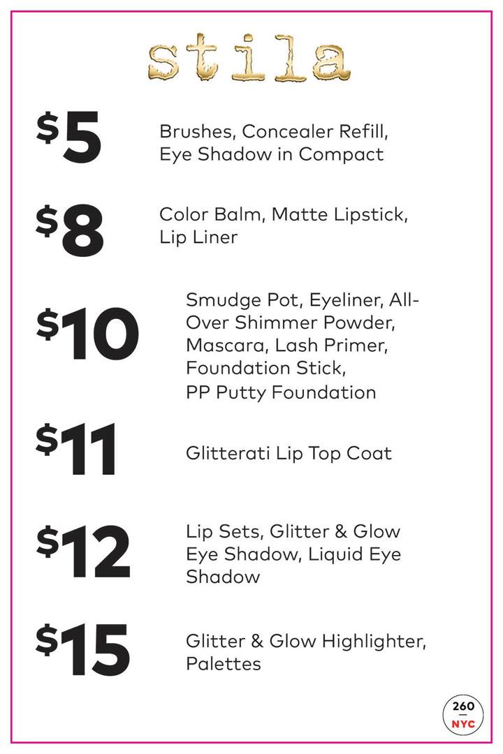 Stila Sample Sale Price List
