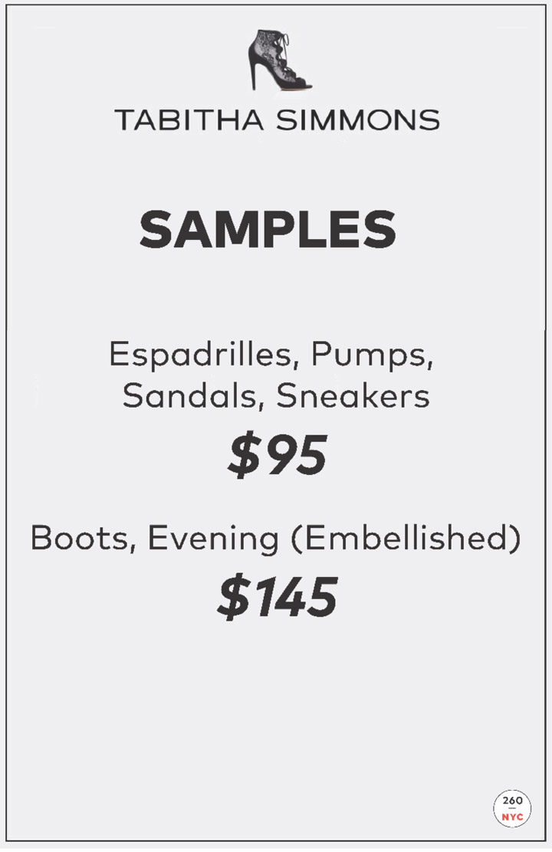 Tabitha Simmons Sample Sale Price List
