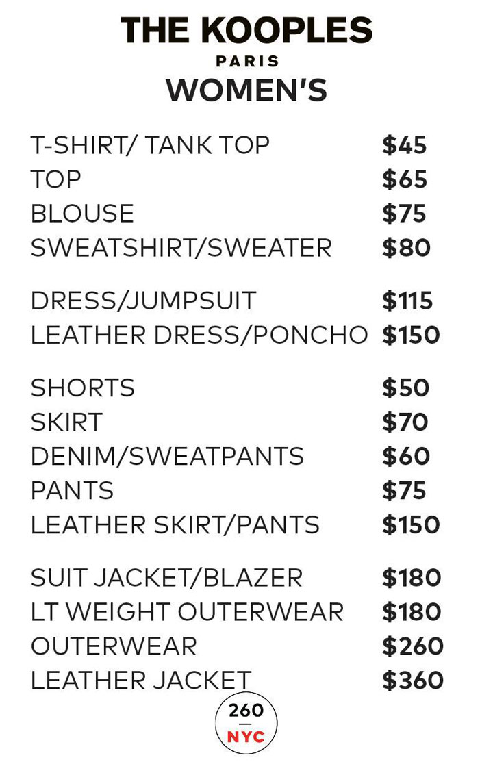 The Kooples Sample Sale Womenswear Price List
