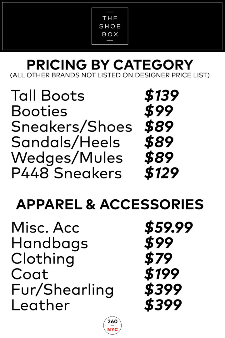The Shoe Box Spring 2018 Sample Sale Price List