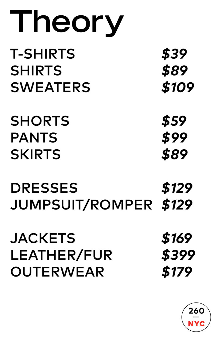 Theory Women's Sample Sale Price List
