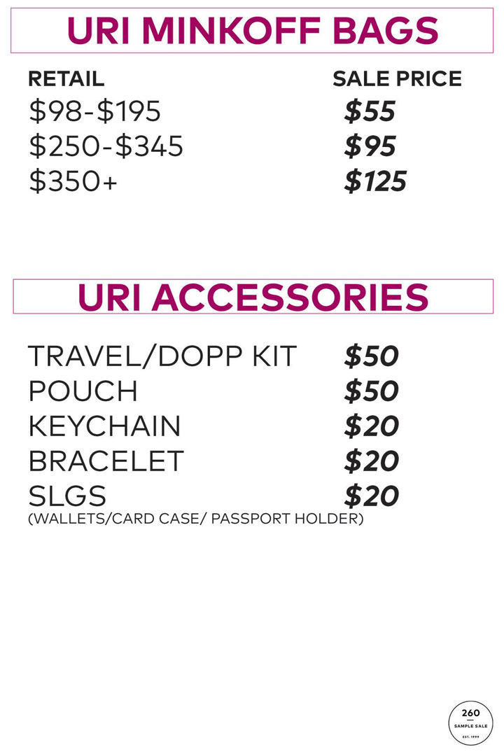Rebecca Minkoff Sample Sale Uri Minkoff Bags Price List