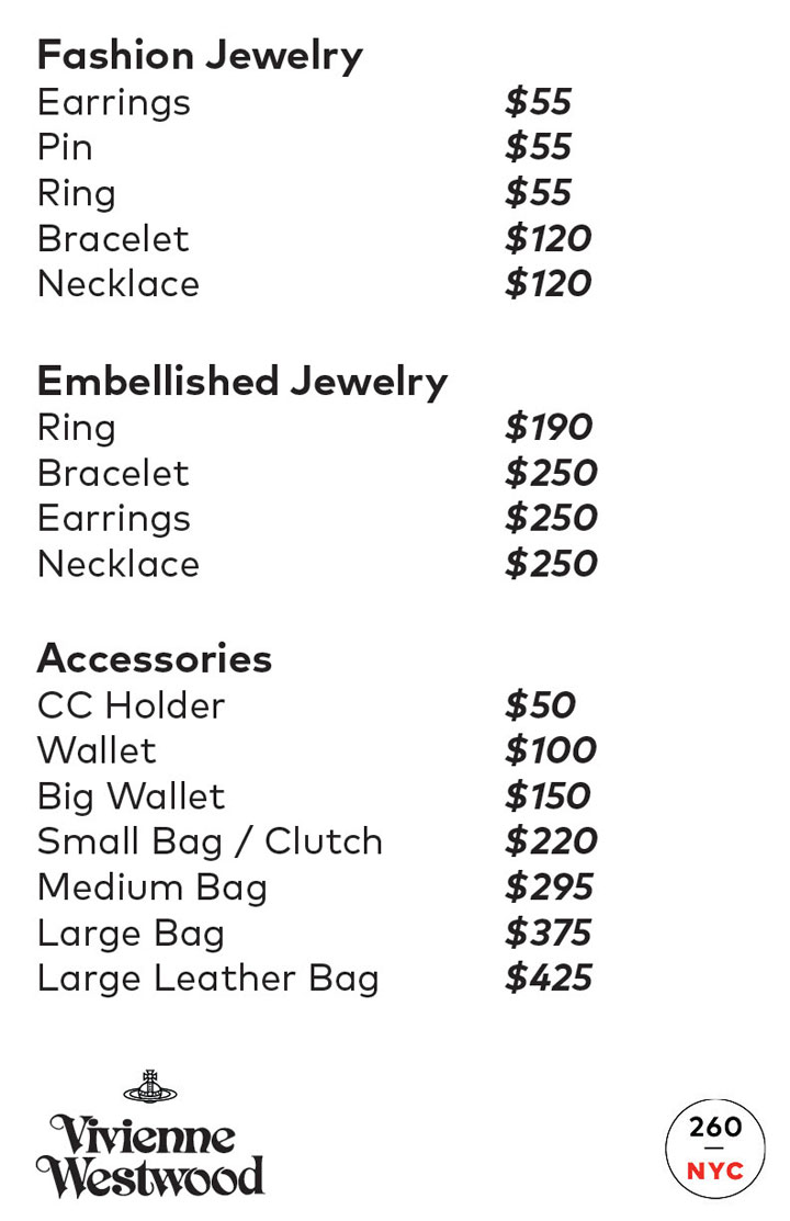 Vivienne Westwood Sample Sale Accessories Price List