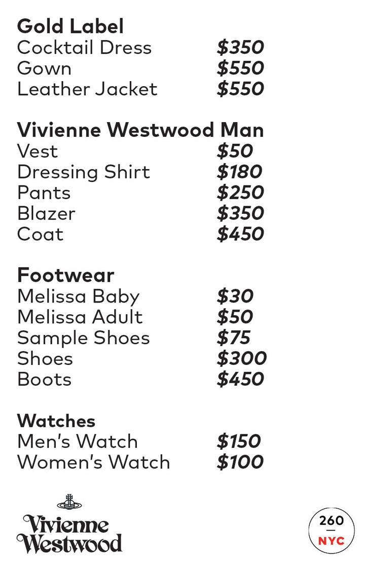 Vivienne Westwood Sample Sale Menswear Price List