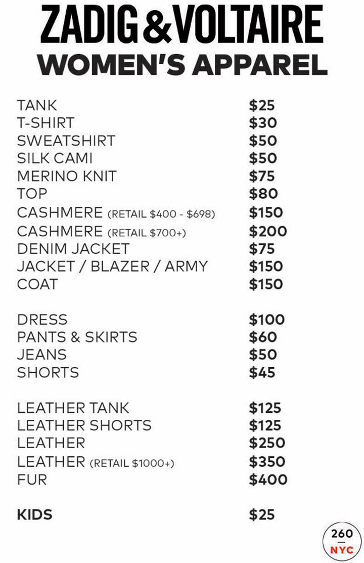 Zadig & Voltaire Sample Sale Womenswear Price List