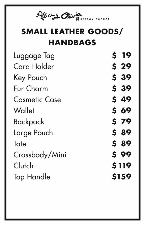 Alice + Olivia Sample Sale Handbags Price List