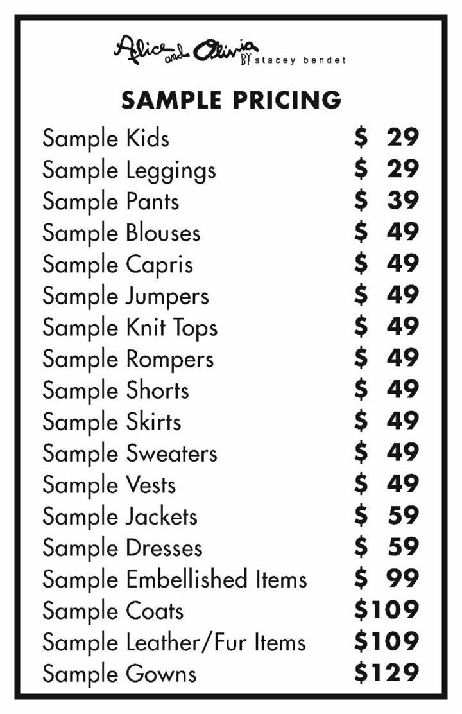 Alice + Olivia Sample Sale Samples Price List