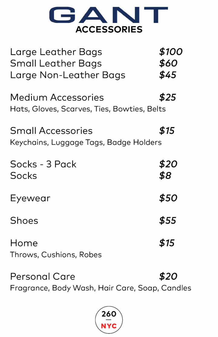 GANT Sample Sale Accessories Price List