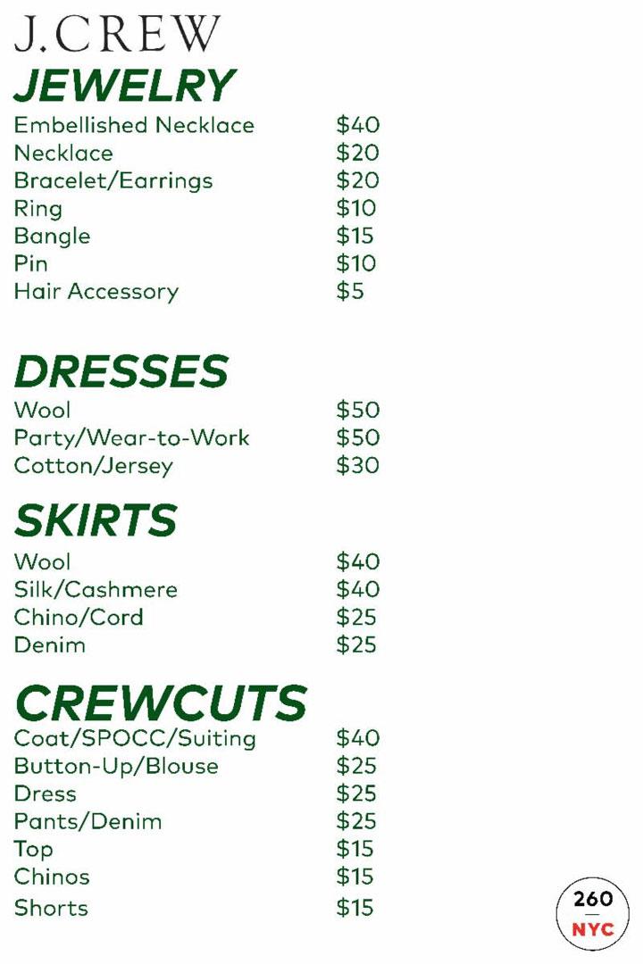 J.Crew + Madewell Sample Sale Outerwear Price List
