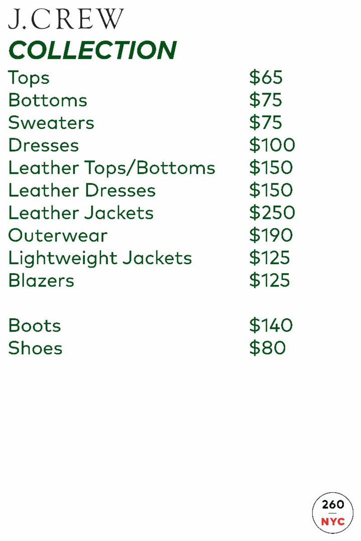 J.Crew + Madewell Sample Sale Outerwear Price List