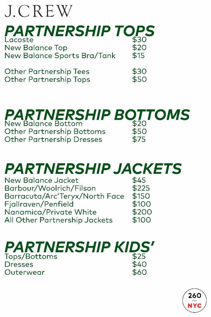 J.Crew + Madewell Sample Sale Partnership Price List