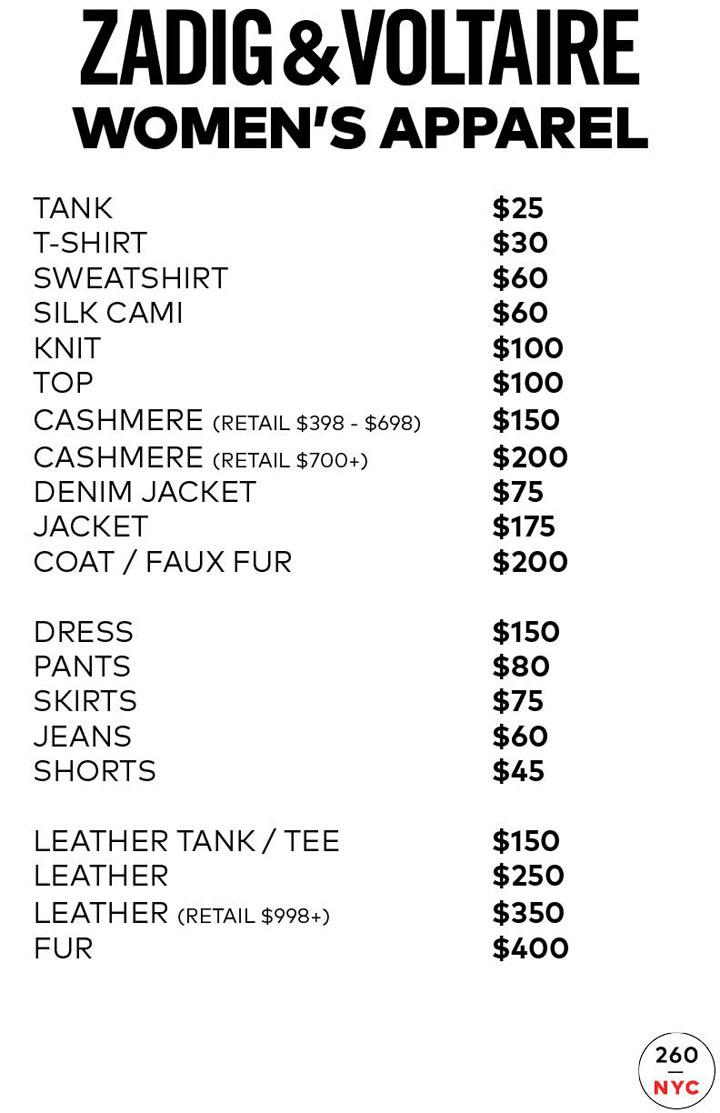 Zadig & Voltaire Sample Sale Womenswear Price List