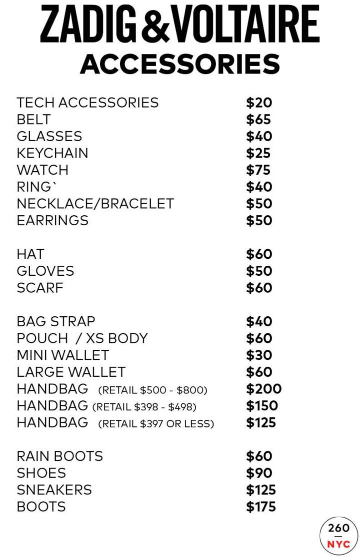Zadig & Voltaire Sample Sale Accessories Price List
