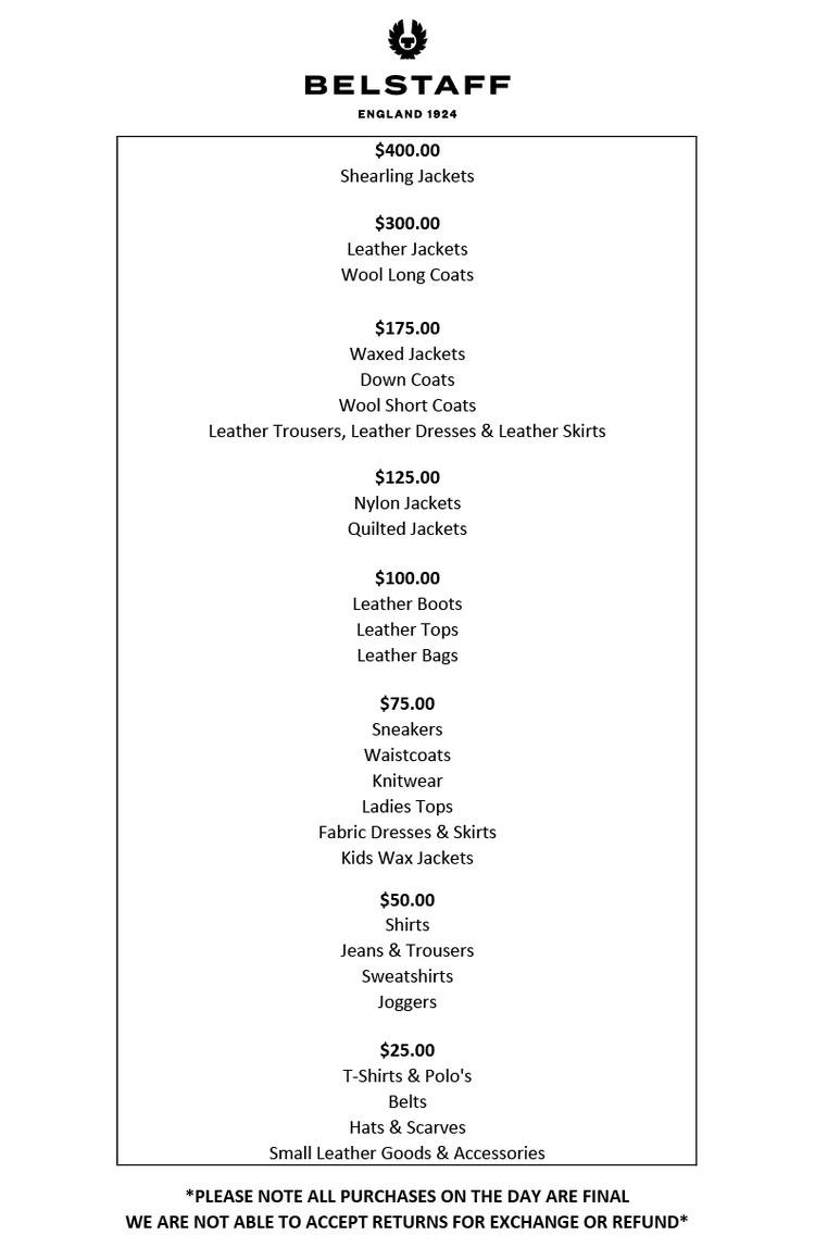 Belstaff Sample Sale in Images Price List