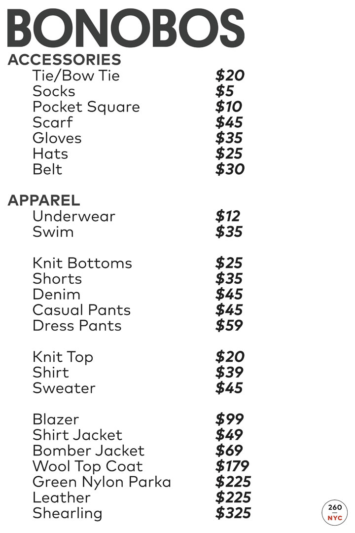 Bonobos Sample Sale Price List