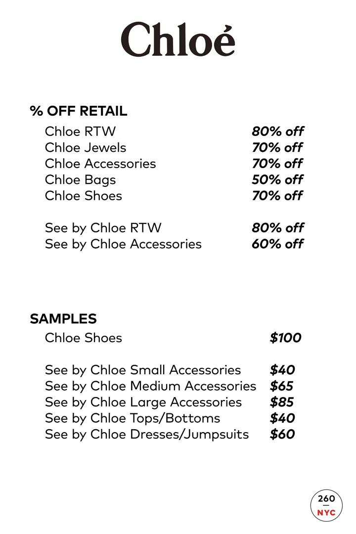 Chloe Sample Sale Price List