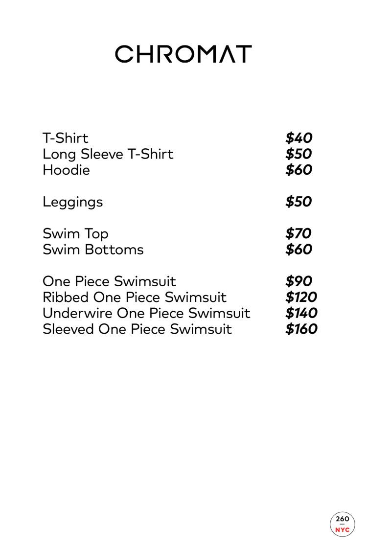 Chromat Sample Sale Price List