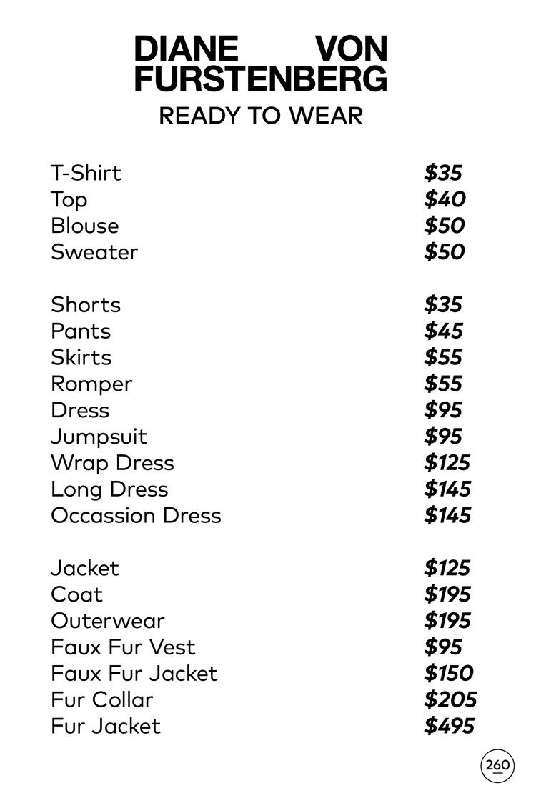 Diane von Furstenberg Sample Sale Apparel Price List