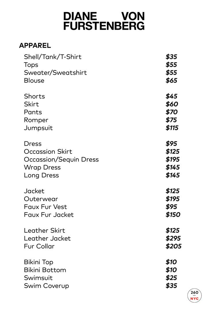 Diane von Furstenberg Sample Sale Apparel Price List