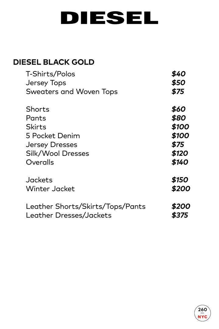 Diesel Sample Sale Price List