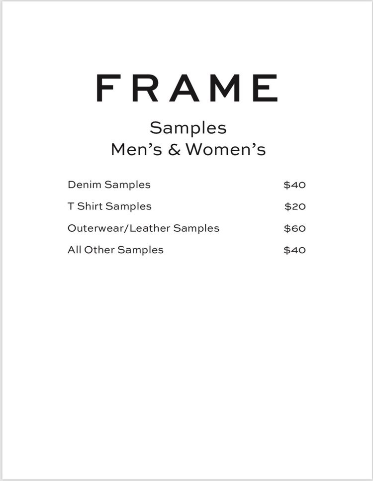 FRAME Sample Sale Samples Price List