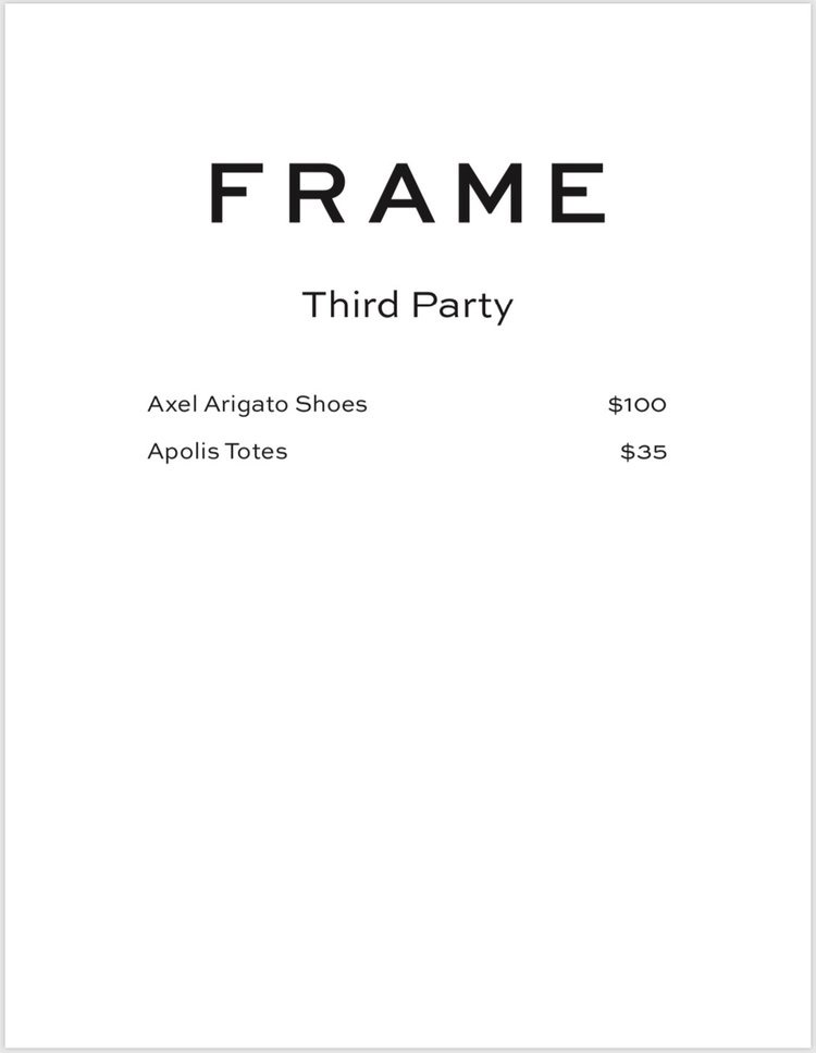 FRAME Sample Sale Third Party Price List