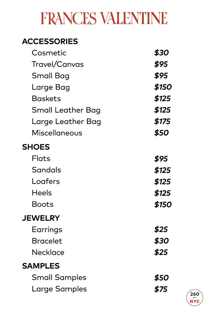 Frances Valentine Sample Sale In Images Price List