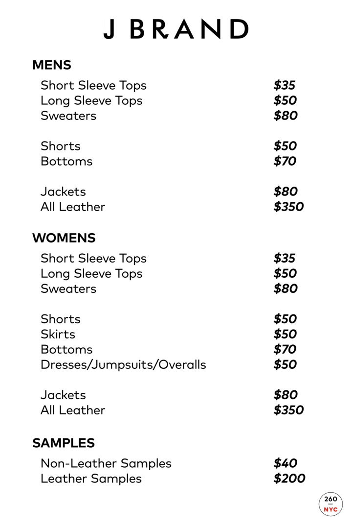 J Brand Sample Sale in Images Price List