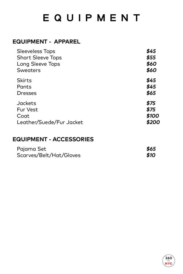 Equipment Sample Sale Price List