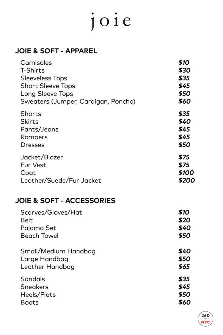 Joie Sample Sale Price List