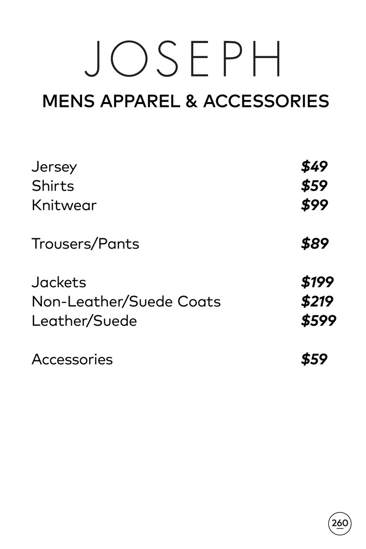 JOSEPH Sample Sale in Images Price List
