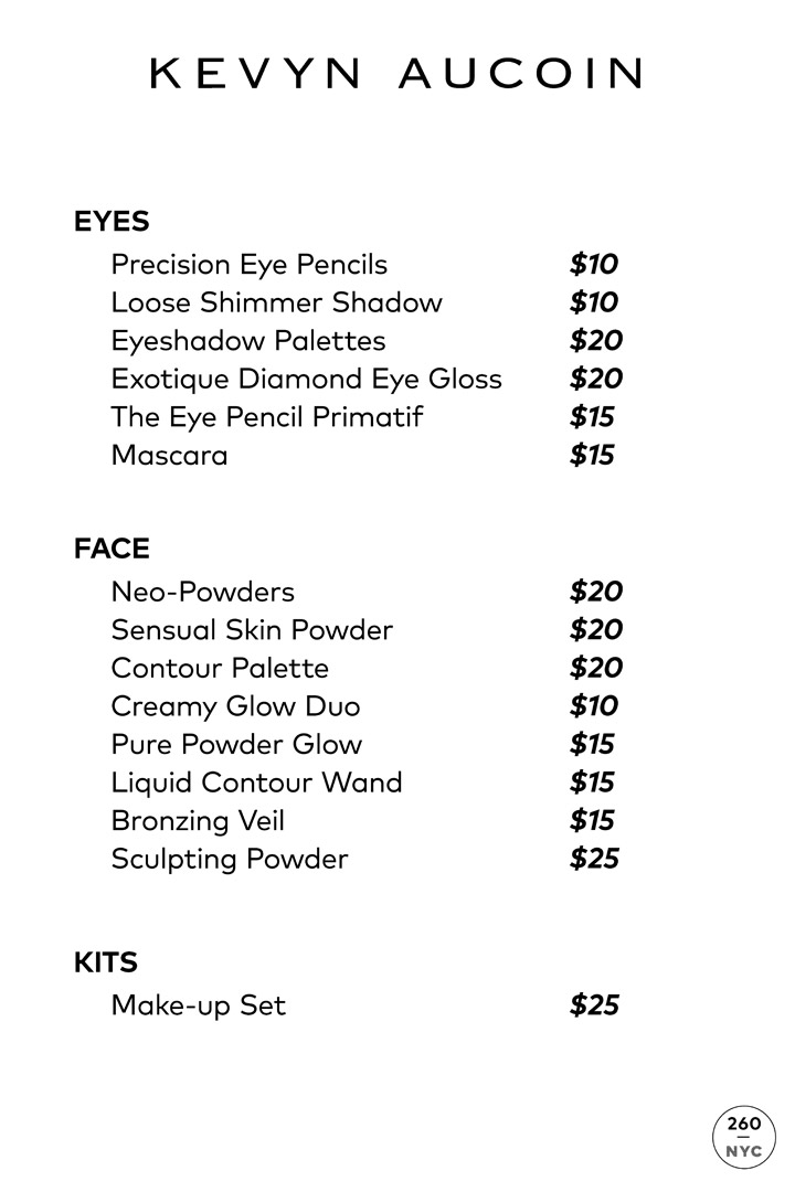 Kevyn Aucoin Sample Sale In Images Price List